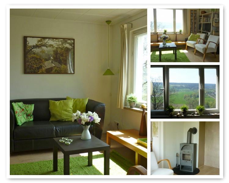 De woonkamer met houtkachel en heerlijk uitzicht